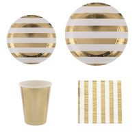 68Pcs/lot Disposable Tableware Set Gold Striped Paper Plates Cup Napkins Party Decor Wedding Birthday Carnival Tableware Supplie