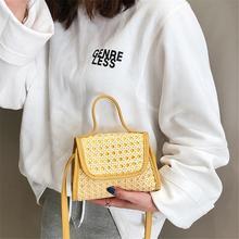 купить Fashion Beach Mini Box Bag Totes Rattan Straw Braided Hand Woven Shoulder Bag Tote Beach Messenger Handbag Crossbody Summer Bags дешево