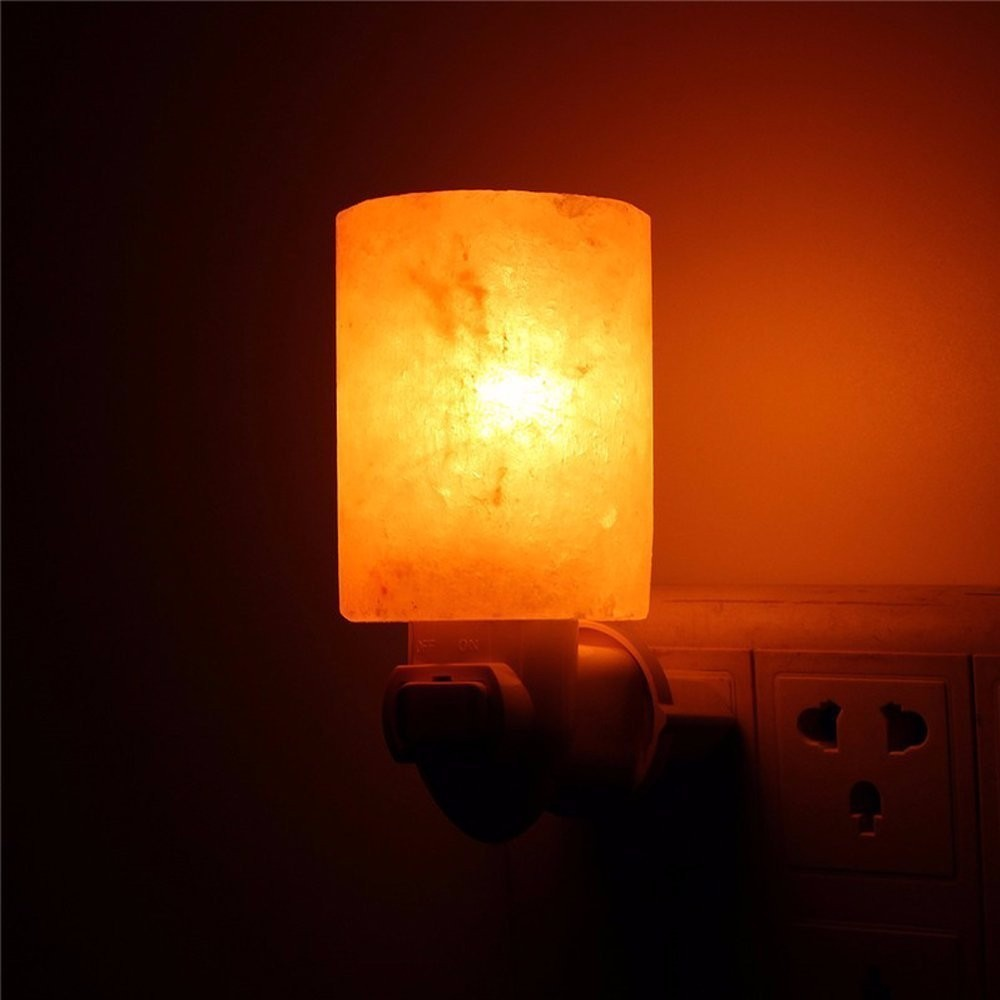 15W Rotatable Mini Himalayan Salt Night Light Wall Lamp Bedside Bedroom Home Decor Novelty Air PurifierLighting US EU UK Plug