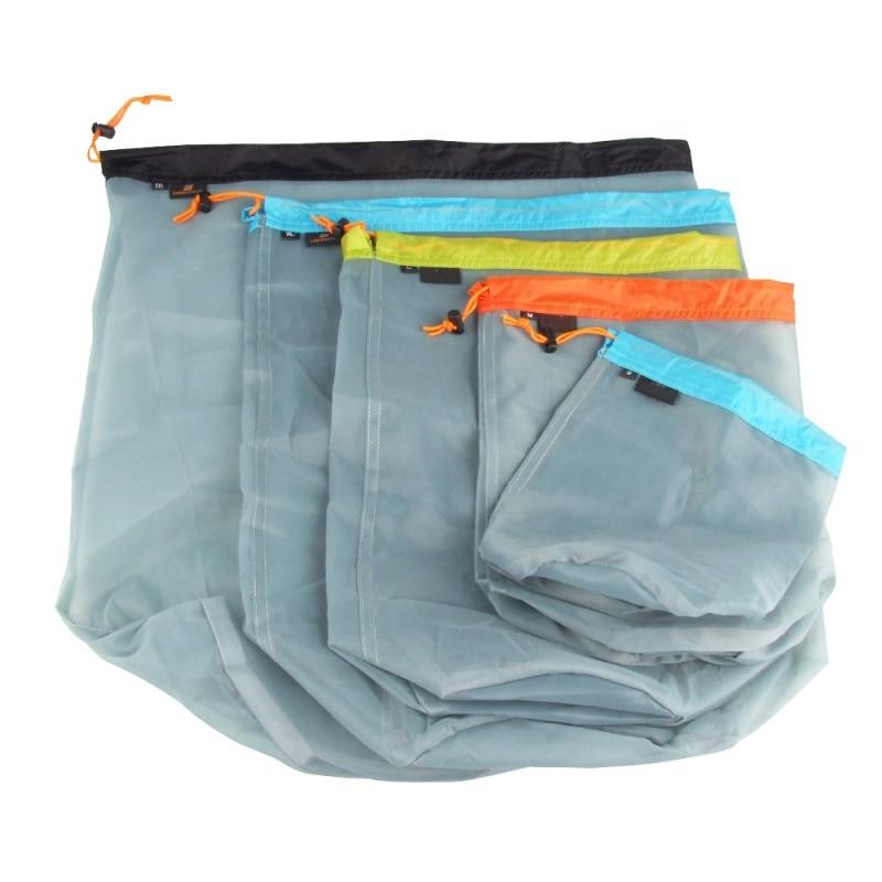 5pc Outdoor Bag Ultralight Mesh Stuff Sack Camping Sports Drawstring Storage Bag