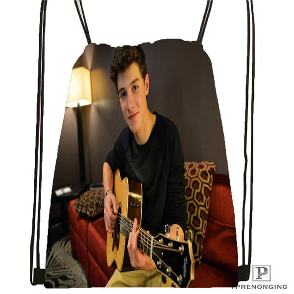 Custom Shawn Mendes  Drawstring Backpack Bag Cute Daypack Kids Satchel (Black Back) 31x40cm#2018611-2(13)