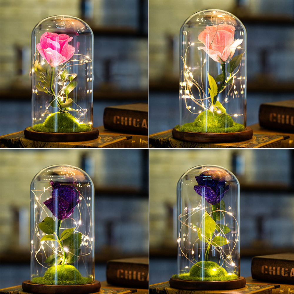 Romantic Glass Rose Wedding Decoration Home Furnishing Holiday Gifts 12.4