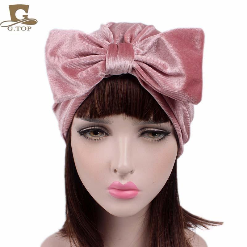 Nuevo estilo de terciopelo Bow bowknot Hijab Turbante Sombreros - Accesorios para la ropa