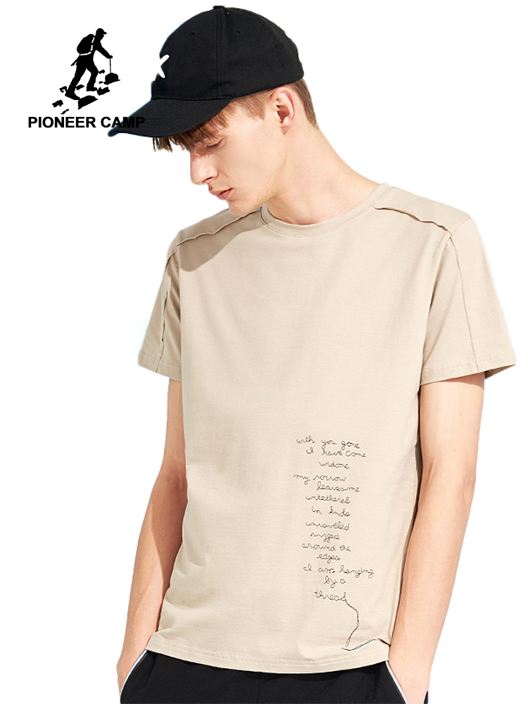 Pioneer camp new short sleeve   t     shirt   men brand clothing print japan style cuffs tshirt men quality stretch tees male ADT802070