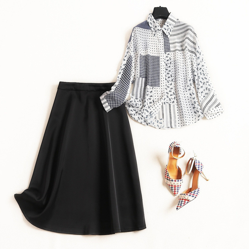 Soie Pièces Top Costume Printemps Banlieue Ensemble De Noir 2 Jupe Printingcrop 2019 Ol Deux Et Mode Femmes Mousseline Nouvelle Chemise sQrthd