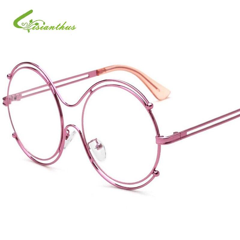 Große Modische Damen Brillen Frames Marke Designer Gold/Slivery ...