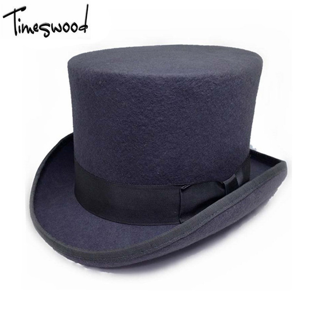 139956fcab6b3 13.5cm Height Black Red Gray Wool Top Hat Men Women Chapeau Fedora Magician  Felt Vintage