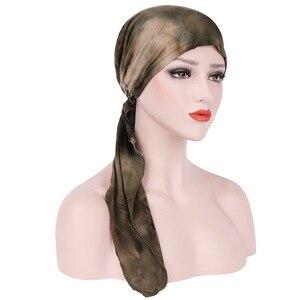 Image 3 - Мусульманская женская мягкая шапка тюрбан, предварительно связанный шарф, хлопковая шапочка при химиотерапии, шапка, бандана, головной платок, повязка на голову, аксессуары для волос с раком