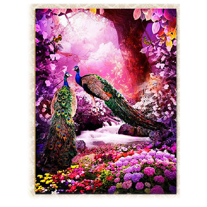 5d Diamond Embroidery Painting Diy Peacock Peacock Flower Cross Stitch Stitch Craft Kit