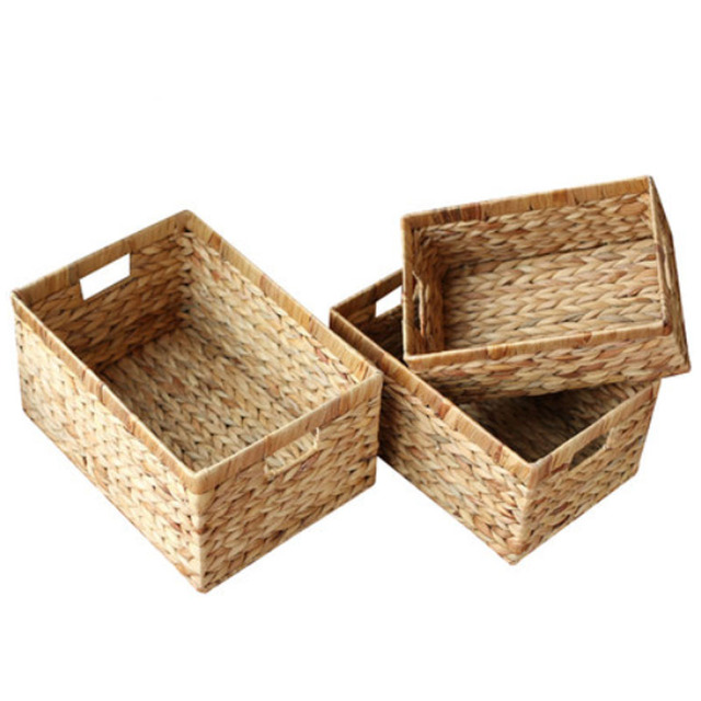 Storage Baskets Containers Natural water hyacinth Rectangular Storage Bins Organizer Box Metal frame woven straw baskets panier