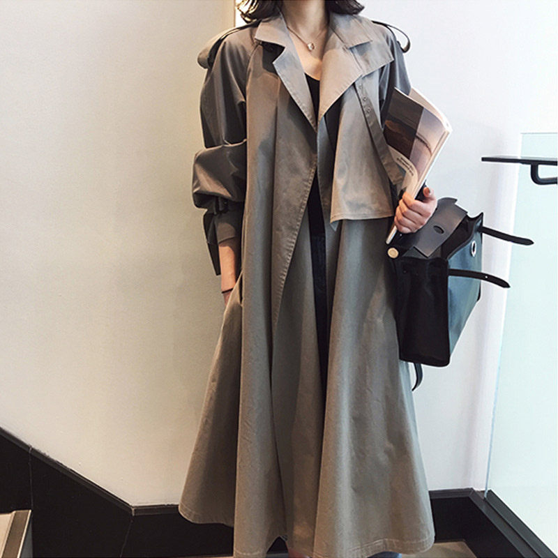 Lapel Women Spring Autumn Clothes Long   Trench   Coat Khaki Grey Fashion Simple Basic Outerwear Casual Loose Patch Overcoat f1189