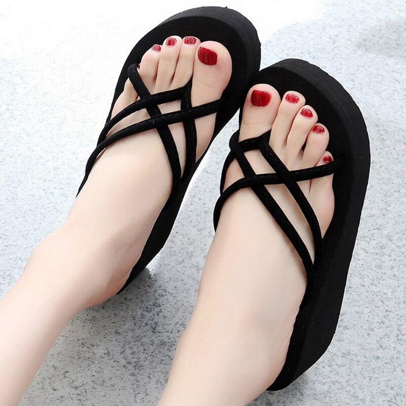 Ausdrucksvoll Wenyujh Plattform Sandalen Frauen Hohe Ferse Zapatillas Sommer Schuhe Mode Straped Hausschuhe Strand Flip-flops Feste Rutschen Frauen