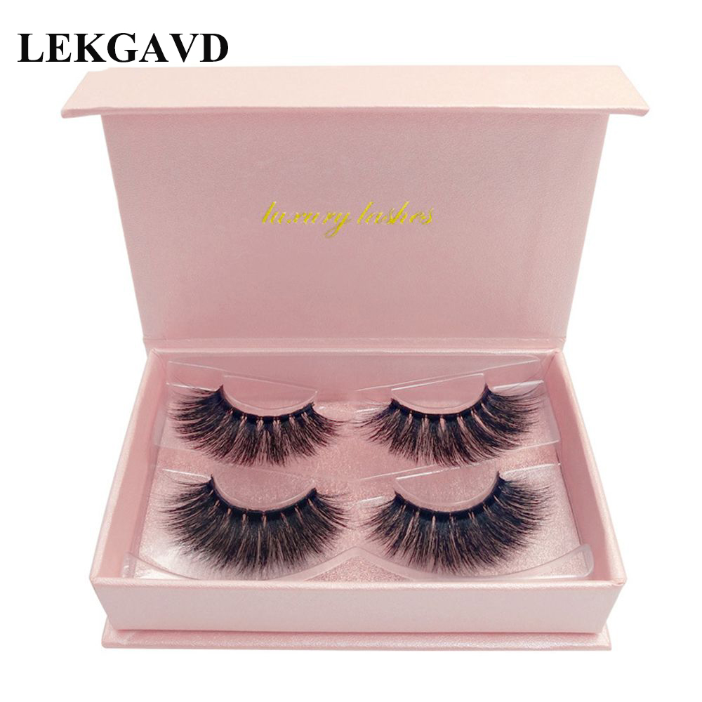 <font><b>2</b></font> <font><b>Pairs</b></font> <font><b>Eyelashes</b></font> Natural Long 3D Lashes Handmade Mink False <font><b>Eyelash</b></font> Full Strip Lashes Makeup 3D False Lash image