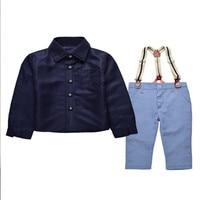 Yeni Avrupa ve Amerikan Erkek Beyefendi iki parçalı uzun kollu gömlek & sapanlar suit Bebek giysileri Sonbahar Boys Causual giyim