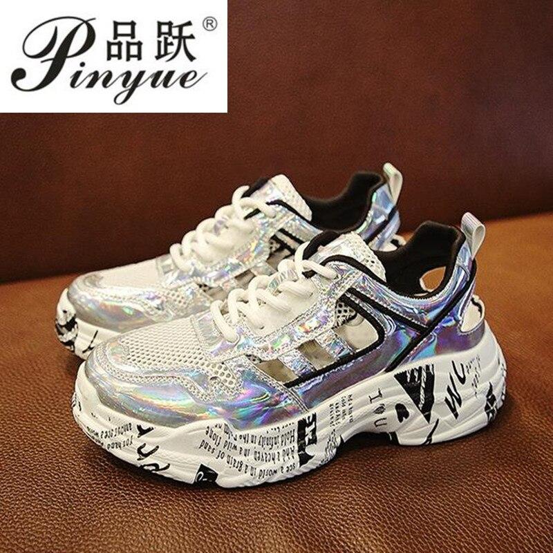 Hollow Sneakers Women Graffiti Heels Glitter Sneakers Women Summer Outdoor Soft Women Shoes Fashion Women Sneakers Plus Size