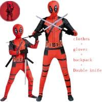 New Deadpool Costume Adult Man Kids Spandex Lycra Zentai Bodysuit Halloween Cosplay Suit Belt Headwear Mask Sword holster