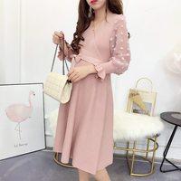 2018 Korean fashion autumn and winter maternity dress new tide mom knit dress