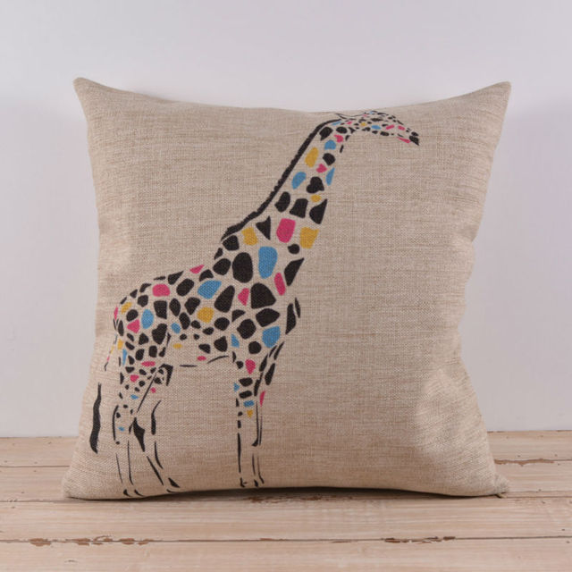 LINKWELL 40x40 Cm Cute Children Room Animal Giraffe Decorative Throw Simple Baby Girl Decorative Pillows