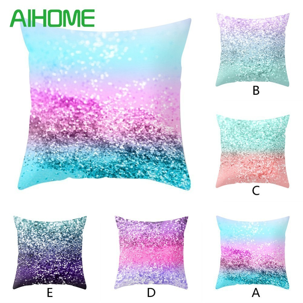5 Style 45*45 cm Polyester Simple Colorful Bedding Throw Cushion Sequins Pillowcase Cushion Cover Car Sofa Home Decor ...
