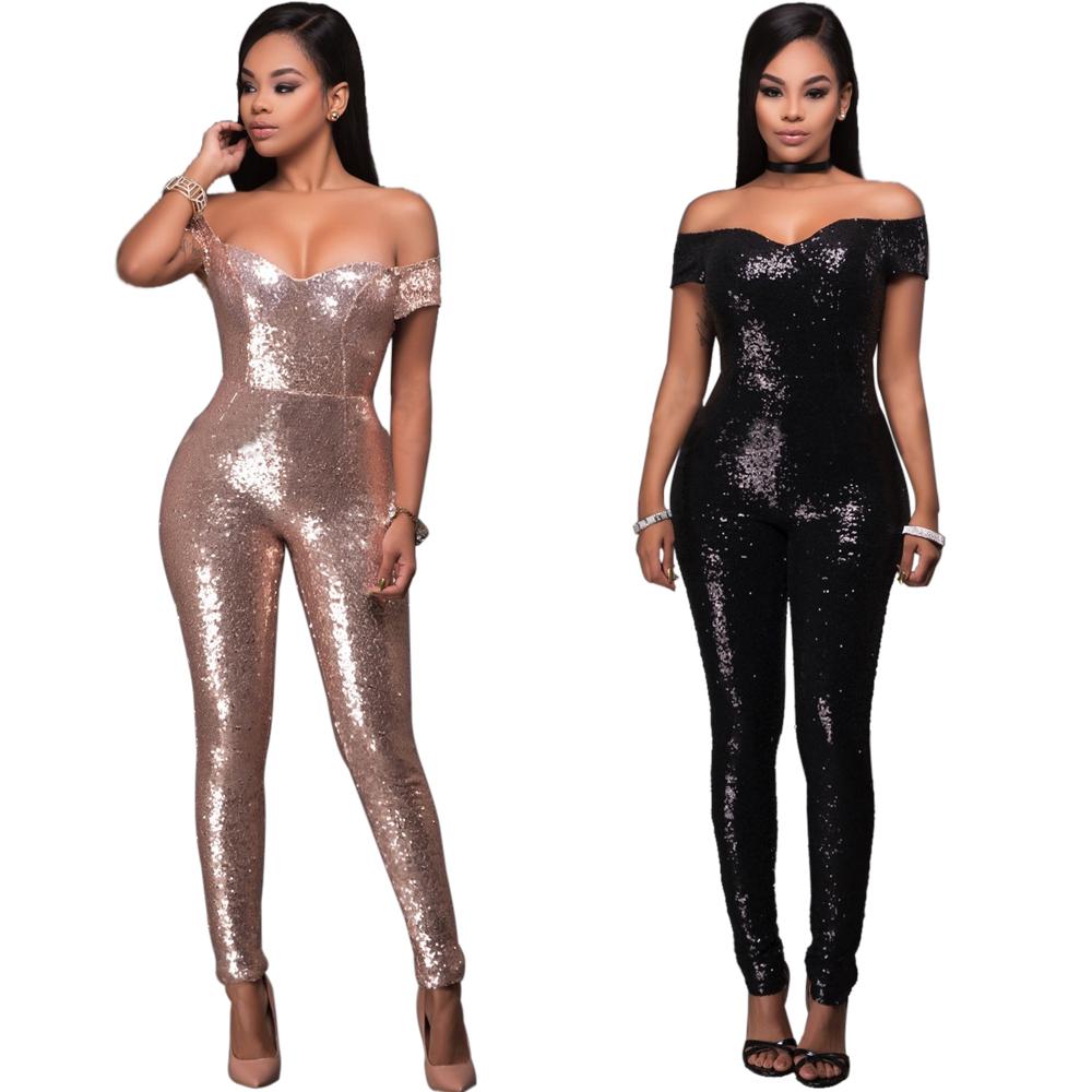 5b53d8b59cd0 Elegant Black Women Sequin Jumpsuit Plus Size Bandage Sexy Strapless Bodysuits  Womens Fashion Overalls Gold Sequined Jumpsuits