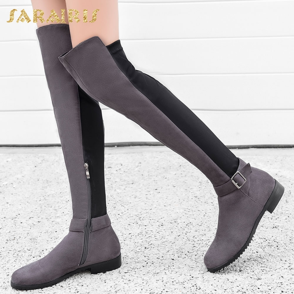 SARAIRIS Brand New Large Size 34-43 Brand Design Zip Up Spring Autumn Boots Woman Shoes Square Heels Knee High Boots Female 2018 brand new spring