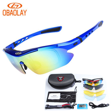 OBAOLAY Polarized Cycling Glasses Eyewear for Bike Bicycle Riding Outdoor Sport Fishing Sunglasses 5 Lens Gafas de ciclismo