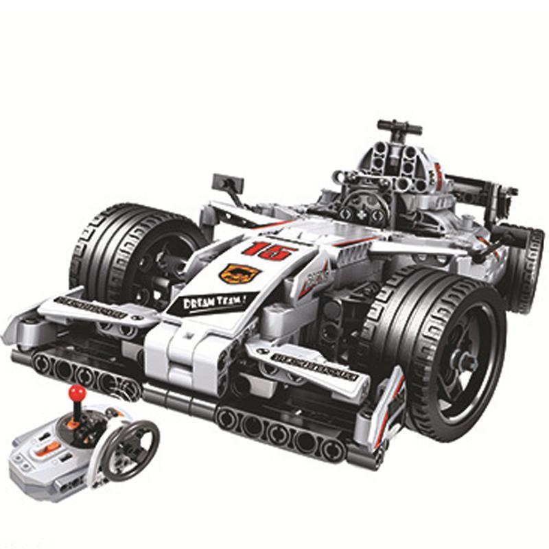 Moc F1 سباق سيارة التحكم عن بعد 2.4 ghz تكنيك مع المحرك مربع 729 قطعة اللبنات الطوب لعب الخالق ل الأطفال-في حواجز من الألعاب والهوايات على  مجموعة 1