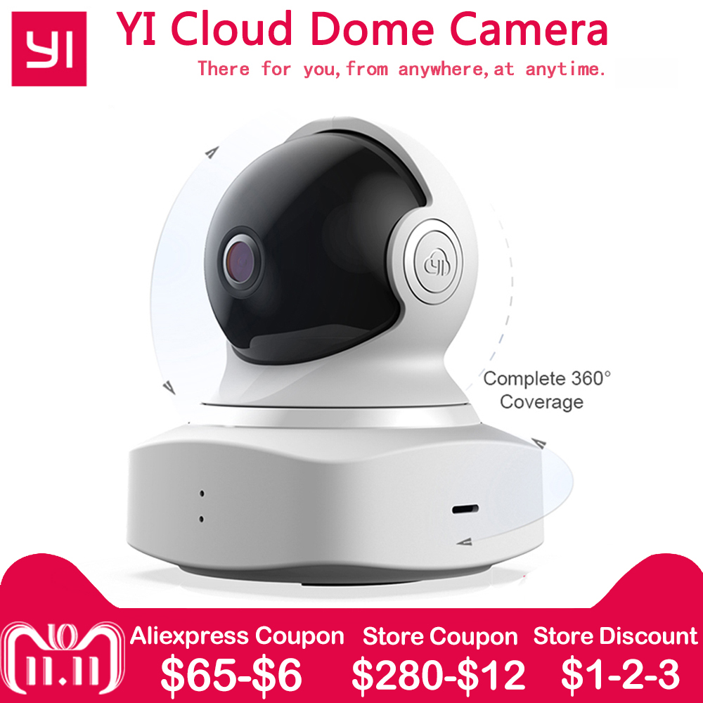 [international edition] xiaomi yi dome camera 1080p fhd 360 degree 112 wide angle pan tilt control two way audio yi dome camera XIAOMI YI Cloud Dome Camera Baby Monitor IP Camera 1080P HD Wireless Wifi Camera Pan/Tilt/Zoom Indoor Security Home Camera