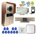 Free Shipping Wireless WIFI Doorbell Camera RFID Video Intercom for Phone Remote View Unlock + Wireless Bell Strike Door E-Lock
