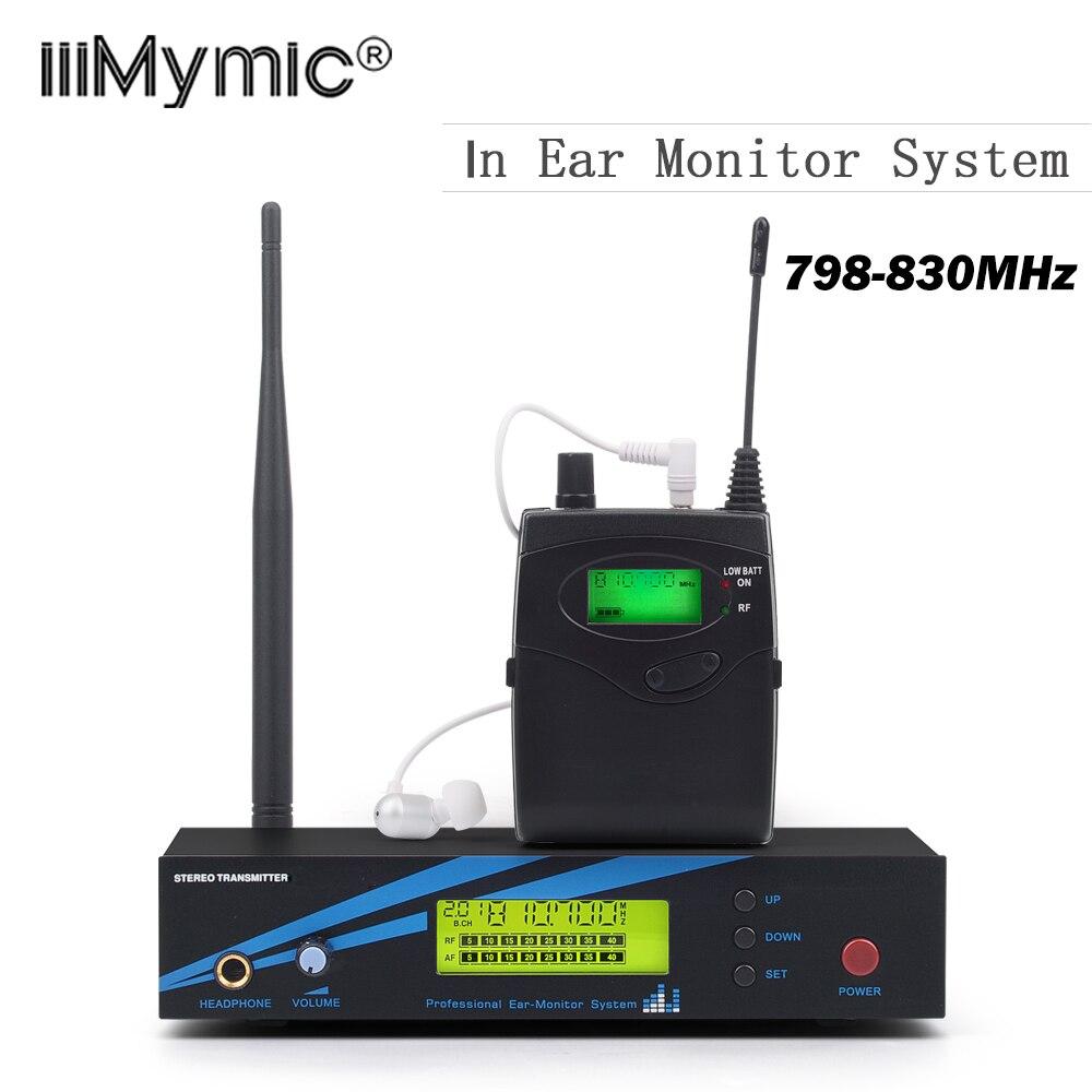 Высокое качество в ухо монитор системы профессиональный мониторинг с наушниками беспроводной микрофон, 798-830 МГц