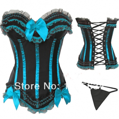 Fashion Satin Overbust Embroidered Corset Bustier Top with G string Set Lingerie