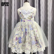 Toddlers Tulle Girls Dress With Vintage Floral Top Summer Party Wedding Clothing Princess kids Dresses for Girls clothes