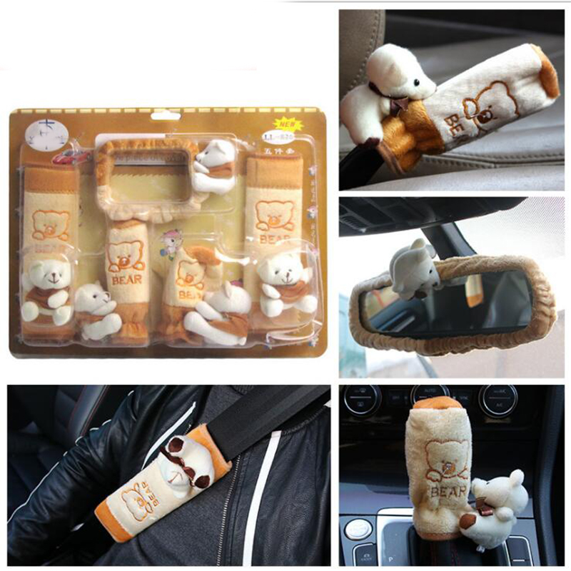 5pcs Car Interior Rearview Mirror Cover Belt Shoulderpads Handbrake Set Hand Sleeve Protective Jacket with Cute Doll Bear Cotton