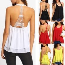 New Women Eiffel Tower Hanging Neck Backless Sexy Vest Chiffon Shirt Summer Top