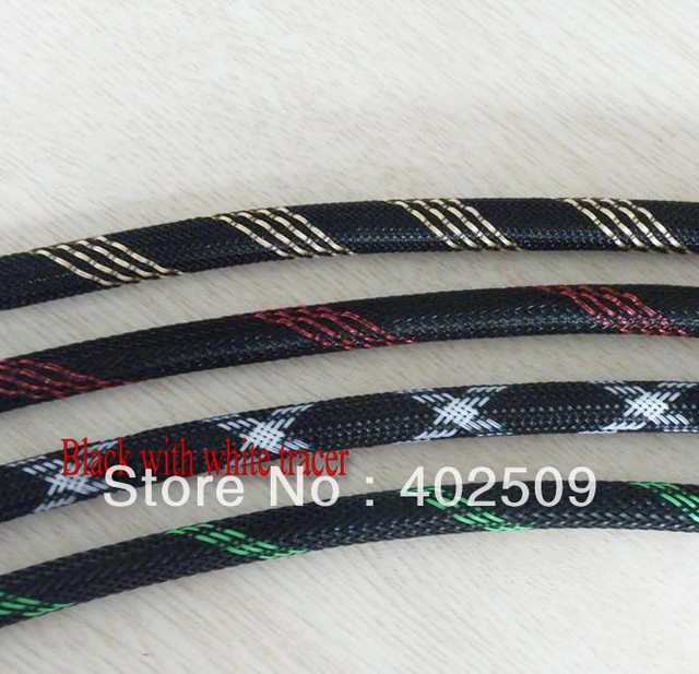 Professional Black with white tracer 100meter 12mm PET braided cable