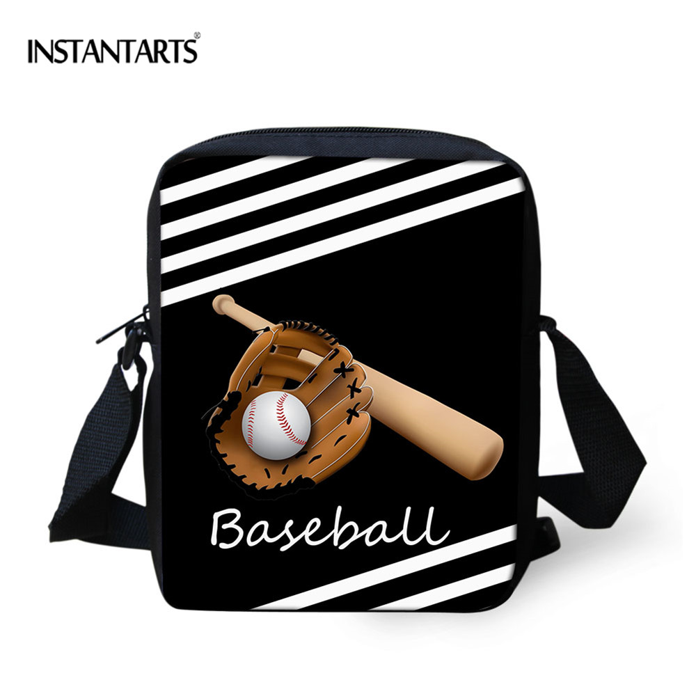 INSTANTARTS Women Handbags Baseball Small Canvas Fashion Messenger Ladies Bolsas Daypack