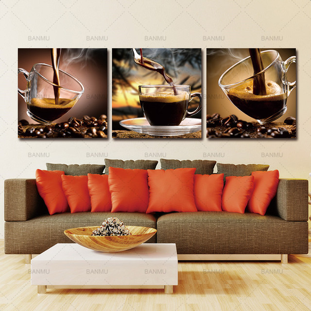 Coffee Canvas Picture Painting Wall Art Painting Coffee Cup Triptych Canvas  Art Coffee Bean Photo Print