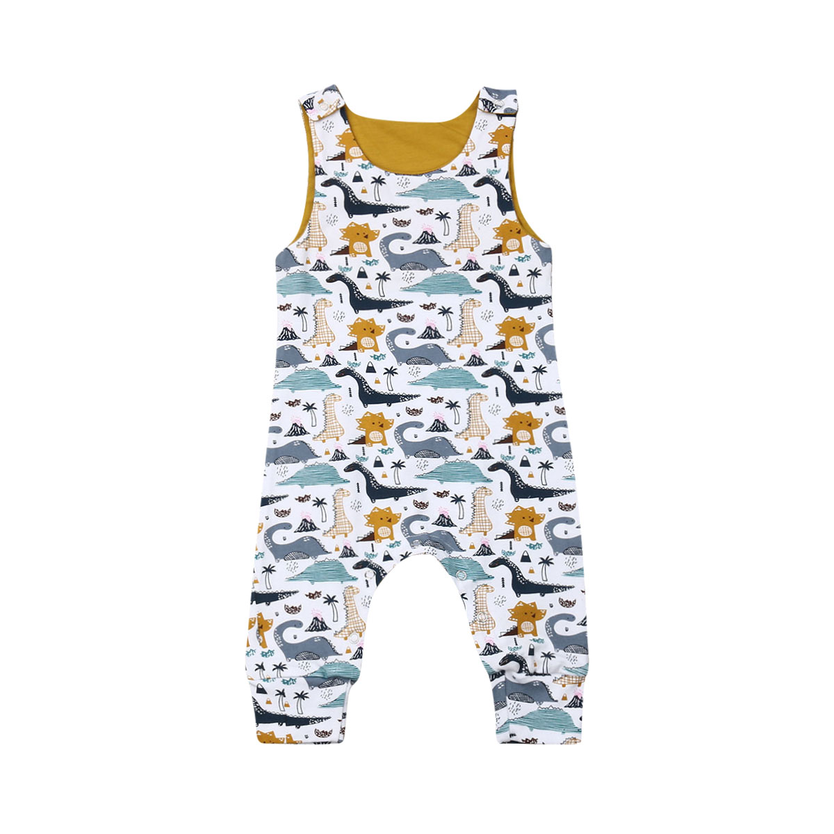 Summer Newborn Baby Boy Girl Sleeveless Cartoon Dinosaur   Romper   Jumpsuit One Pieces Clothes