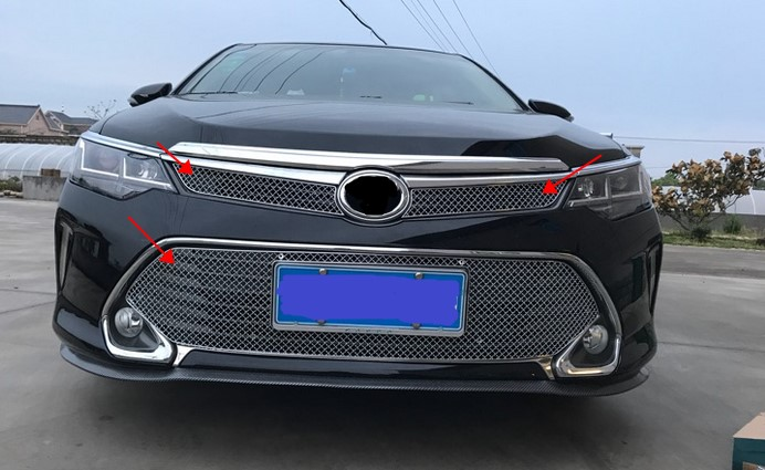 Stainless steel Front Grille Around Trim Racing Grills For Toyota Camry 2015 2016 Z2AA030 high quality stainless steel front grille around trim front bumper around trim racing grills trim for 2014 toyota corolla