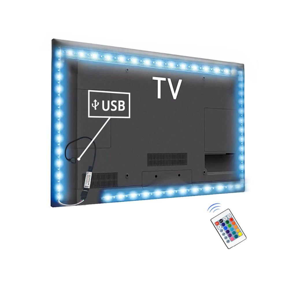 RGB Light For Tv Backlight Lamp For 1m 2m 3m 4m 5m Led Light For Cupboard Wardrobe Cabinet LED Diode TV Background Lighting(China)