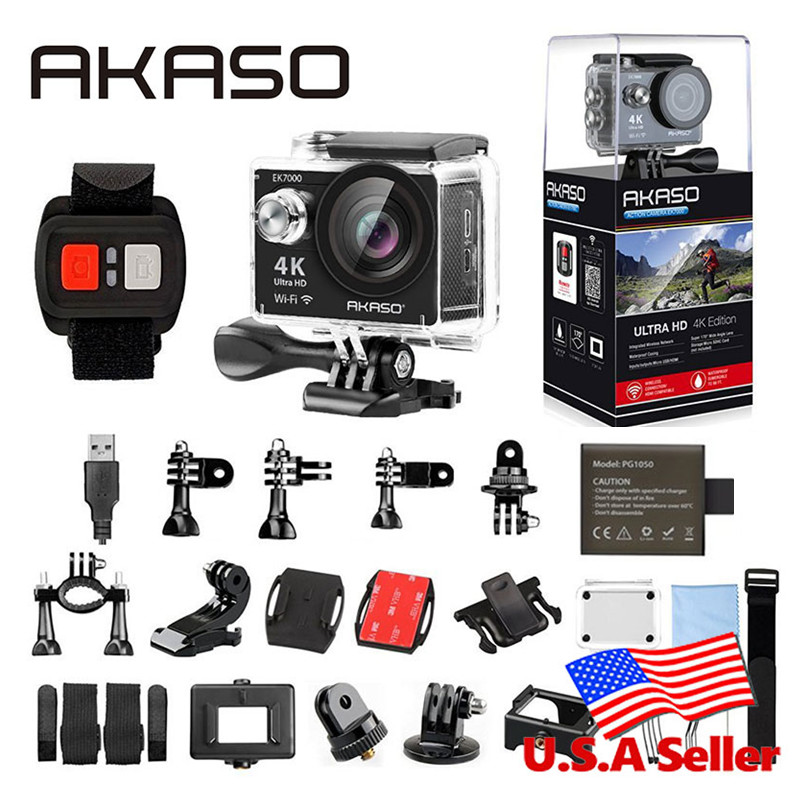 AKASO EK7000 4K WIFI Outdoor Actie Camera Ultra HD Go Waterdichte Cam Pro fietshelm Video Extreme Sport Moving Cameras Gift
