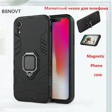 For iPhone XR Case Magnetic Finger Ring Bracket Hard Bumper Armor Anti-knock Cover Funda BSNOVT