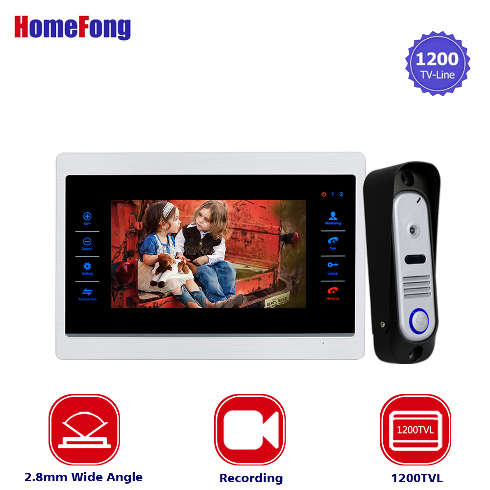 Homefong Home Intercom 7 inch TFT Monitor Wired Video Door Intercom System Wide Angle 1200TVL Night Vision Outdoor Camere homefong 4 inch monitor lcd color video record door phone doorbell intercom system night vision 1200tvl high resolution