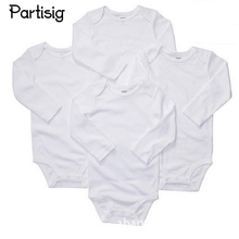 2PCS /LOT Baby Rompers Cotton Plain White Long Sleeve