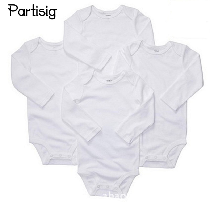 Baby Rompers Cotton Plain White Long Sleeve Baby Romper