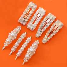 Big Handmade Geometric BB Hairpin Elegant Snap Hair Clip Teardrop Flower Pearl Barrette For Women Girls Hair Accessories Styling ubuhle fashion women full pearl hair clip girls hair barrette hairpin hair elegant design sweet hair jewelry accessories 2019