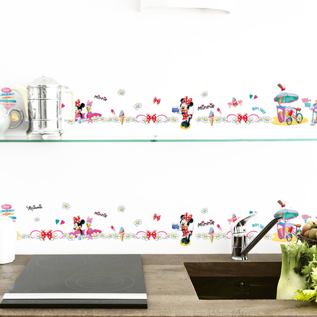 carton Mickey Mouse Minnie Daisy Duck skirting Line kids room diy home decal wall sticker Furniture kitchen carton mural