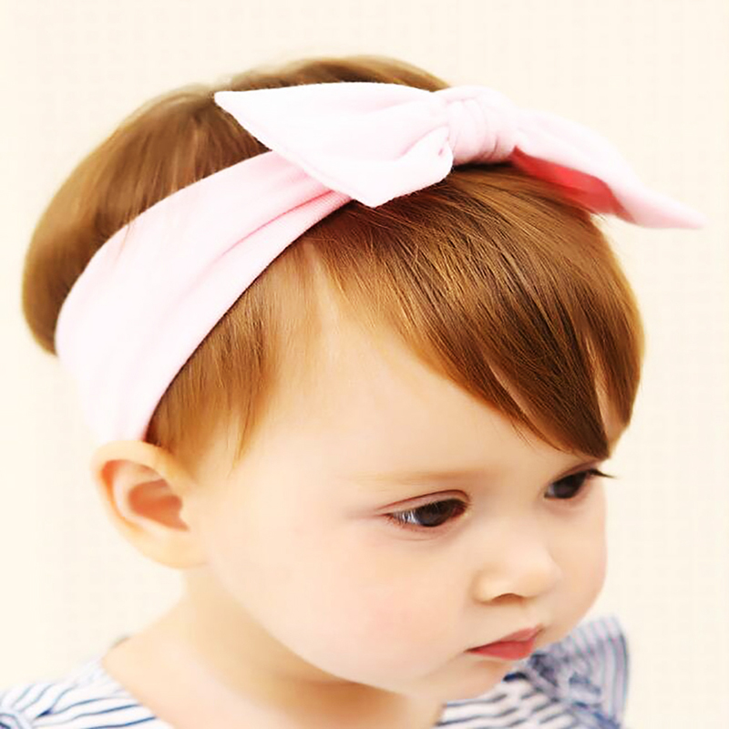 New 3 Pcs/Set Cute Headband Girls Pink Sweet Bowknot Striped Floral Rabbit Ear Elastic Cotton Hair Band Accessories <font><b>Hoofdband</b></font> image