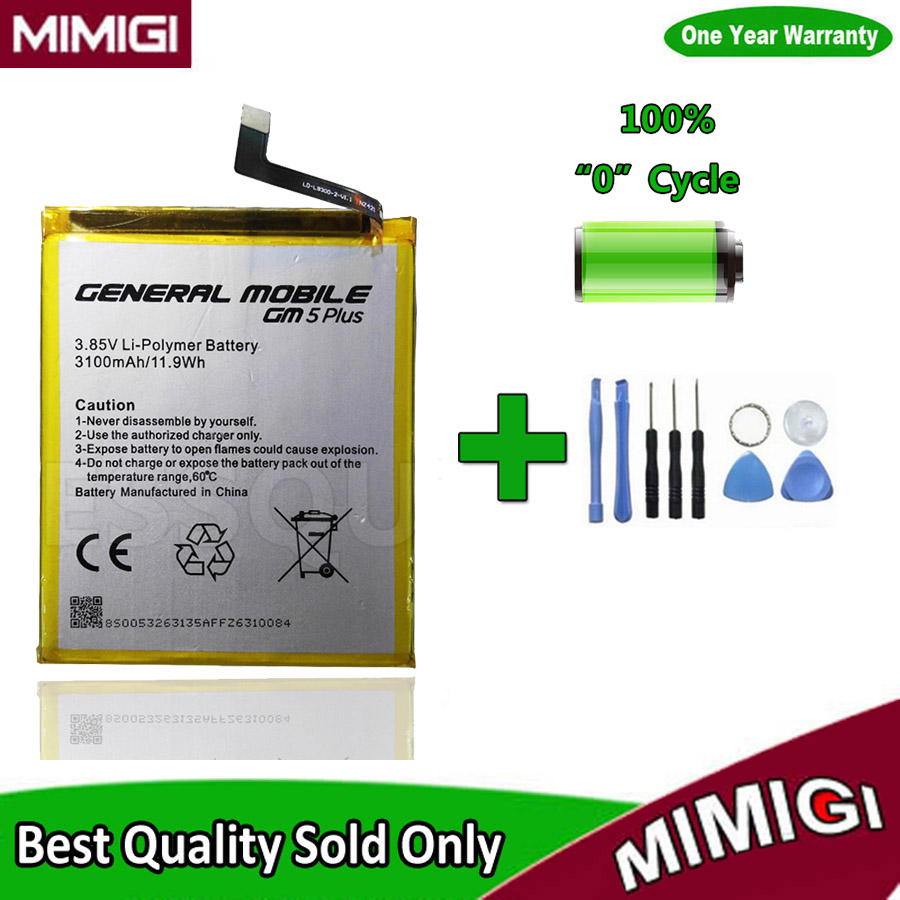100% New 3100mAh GM5 Plus Battery For General Mobile Discovery 5 Plus GM 5 Celular Phone AKKU + Tools Gift + Tracking Code