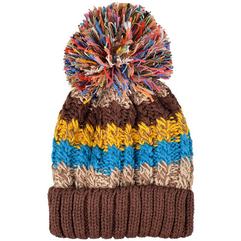 Keep Warm Winter Hat Beanies Fur Wool Knitted Hat The Female of The Pom Poms Caps Beanies Hats for Women Gorros Mujer Invierno